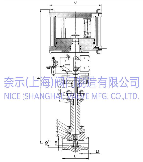 气动锻钢闸阀Z661H结构